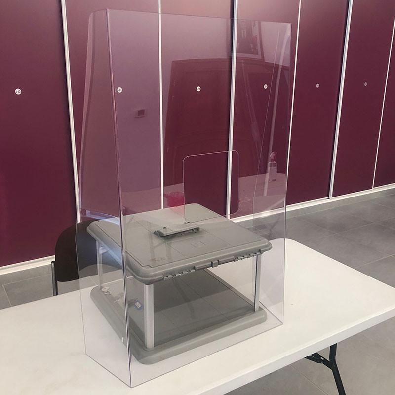 Hygiaphone urne - Vitre de protection en plexiglass sur pieds
